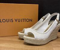 size 37.5 Louis Vuitton White Denim Monogram Wedge Espadrille Heels