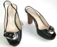 UNISA sandalias tacones & pequeño plataforma cuero negro 38 MUY BUEN ESTADO