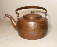 antique 1800's Dutch handmade dovetailed thick copper teapot tea kettle pot
