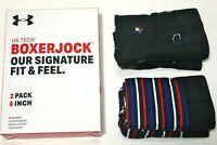 "Men's Under Armour Tech Boxer Jock 2-Pack 6"" Inseam (Academy) Novelty Underwear"