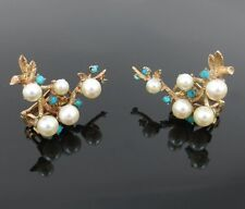 Vintage Turquoise & Cultured Pearl Hand Made 14K Yellow Gold Branch Earrings