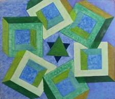 ABSTRACT BOXES & STAR Acrylic Painting On Board c1960