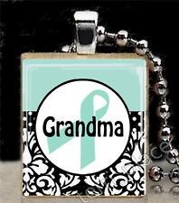 Teal Ribbon For Grandma Scrabble Tile Pendant Ovarian Cancer Support S2