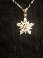 "Vintage Rhinestone Snowflake Star Pendant Chain Necklace 16.5 "" Length"