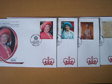 Ghana Queen Mother 95Th Birthday, 4 Different First Day Covers,Nice.