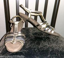 "Aerosoles ""Top Gade"" Metallic Gold Leather Sz 12M T-Strap Ankle Buckle Sandals"