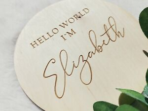 PERSONALISED Name sign Hello world I'm.. Birth announcement name plaque NP7