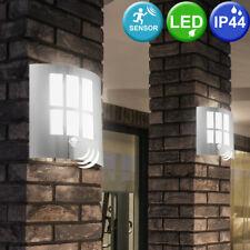 2er Set LED Außen Wand Lampen Fassaden Bewegungsmelder Edelstahl Leuchten Balkon
