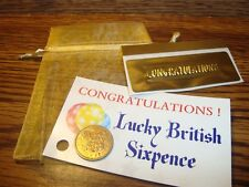 1966 British LUCKY SIXPENCE Keepsake Coin, Organza Pouch, Congratulations Card