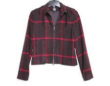 Worth - 4 (S) - Brown & Pink Plaid Felted Wool - Tassel Collar Fleece Jacket