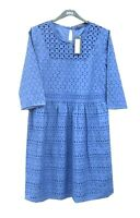 Marks & Spencer Blue Summer Dress Size 16 Broderie Anglaise Pure Cotton Lined