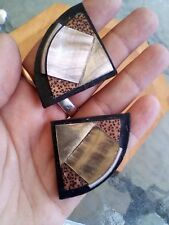 Vintage Clip On Earrings Art Deco Mother Of Pearl Wood Metal Abstract Large