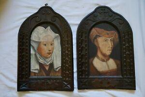 paire tableaux portraits style médiéval néo-gothique renaissance hsp