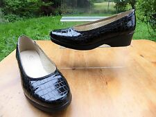 *COMFITTS* Ladies Black Croc Patent Leather WIDE FIT WEDGE SHOES UK4 BNIB rrp£55