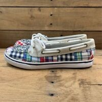 Sperry Top-Sider Womens Bahama Skimmer Boat Shoes Red Blue Plaid Slip On US 6 M