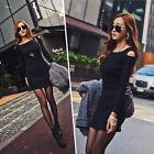 Sexy Women Lady Autumn Winter Long Sleeve Knit Sweater Bodycon Party Mini Dress