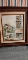Original Painting Impressionist Paris Street Scene Oil Signed Lawrence 8.0X10.0