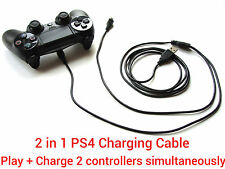 2 in1 2M long USB charging charger + play cable lead for Sony PS4 Controller