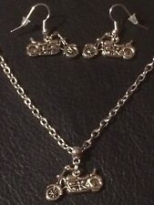 Harley Davidson Inspired Motorcycle Necklace + Earrings Set Silver Plated