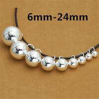 Sterling Silver Round Ball Bead Charms Pendants 925 Silver for Bracelet Necklace