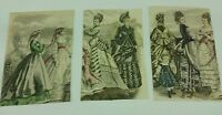 Lot Of 3 Vintage Book Print Illustration Victorian Women Young Boy Formal Dress