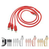 3 in 1 Braided Multi Micro USB Fast Charging Cable Type-C For Android iPhone