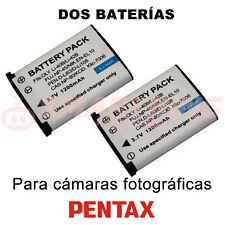 2X BATERÍA D-Li63 (EN-EL10) PARA PENTAX Optio L30; 3.7V; CAPACIDAD 1200 mAh