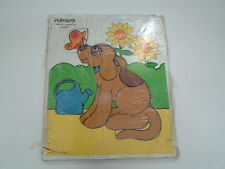 Vintage wooden garden and dog playskool puzzle 7 piece puzzle