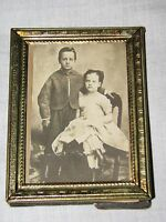 Old photograph 2 children brother sister boy girl cabinet photo instant ancestor