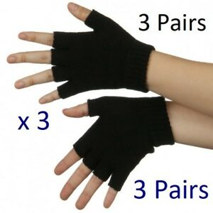Mens Womens Unisex Fingerless Black magic Half Finger gloves
