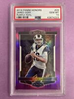 2018 Panini Honors Jared Goff #29 FOTL Purple Prizm 1/9 PSA 10 GEM MT
