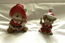 Vintage 2 Homco Home Interiors Christmas Bear Figurines Gold Foil Label #5600