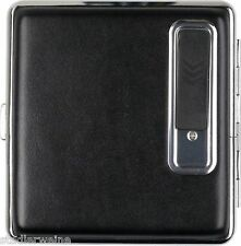 Étui à Cigarettes Optique de cuir noir/USB briquet/Cadre chrome/17 Kingsize