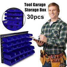 30pc Plastic Wall Mounted Storage Bin Kit Garage Workshop Shed Bins Rack Blue