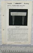Vintage leaflet: Swedish Arkits Basketry - oblong flower stand, 66