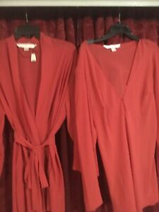 NWT Victorias Secret Sheer Red Robe +nightie Set  Lingerie Size Large New