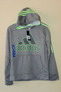 Adidas Boys' Youth Tech Fleece Hoodie Pullover Gray/Green Sz L-14/16