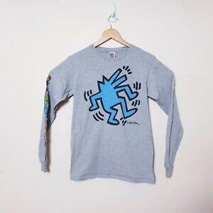 Junk food Mens Size L Large Grey Keith Haring Foundation Wolf Long Sleeve Shirt