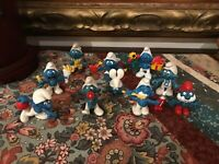 Schleich Peyo Vintage 1970's  1980s SMURF Rubber Toy Figures Lot of 10 Smurfs
