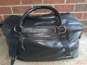 John Varvatos Classic Leather Black Duffel Bag Travel Weekender Unisex Luggage