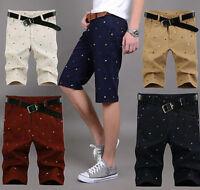 Mens Printing Relaxed Boardshort Summer Cotton Slim Shorts Dress Pants 28-46