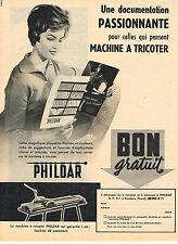 PUBLICITE ADVERTISING  1958   PHILDAR  machine à tricoter
