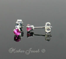 3mm Real Solid 925 STERLING SILVER Ruby Red CZ Earrings Unisex Girls Studs