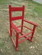 Cute Vintage Oak Rocker Rocking Chair Child / Doll / Stuffed Animals red paint