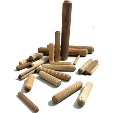 10mm x 90mm Hardwood Multigroove Chamfered Wooden Dowels Fluted Pins Craft Wood