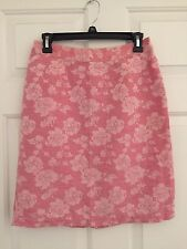 Jaclyn Smith Pink Rose Floral Print Pencil Skirt size 6 Linen/Cotton