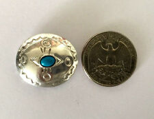 """Southwestern 1"""" Sterling Silver Turquoise Etched Concho Handmade Button Cover"""