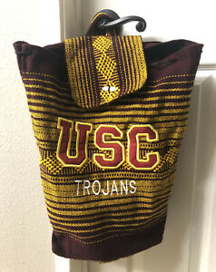 Bohemian Aztec Canvas Drawstring Backpack Tote Bag USC Trojans Embroidered