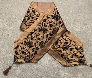 """Copper w/Black velvet design table runner 13"""" x 78"""" ...autumn"""