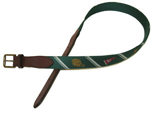 Polo Ralph Lauren Ivy League 38 Pennants Overlay Webbed Leather Brass Belt